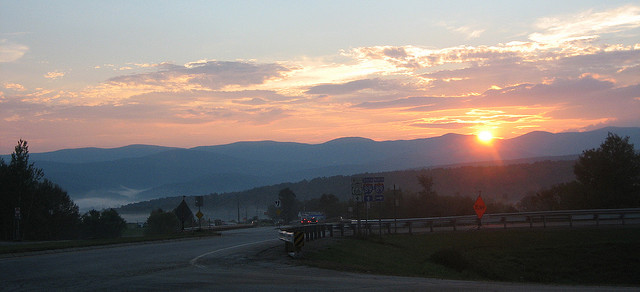 sunset over exit four