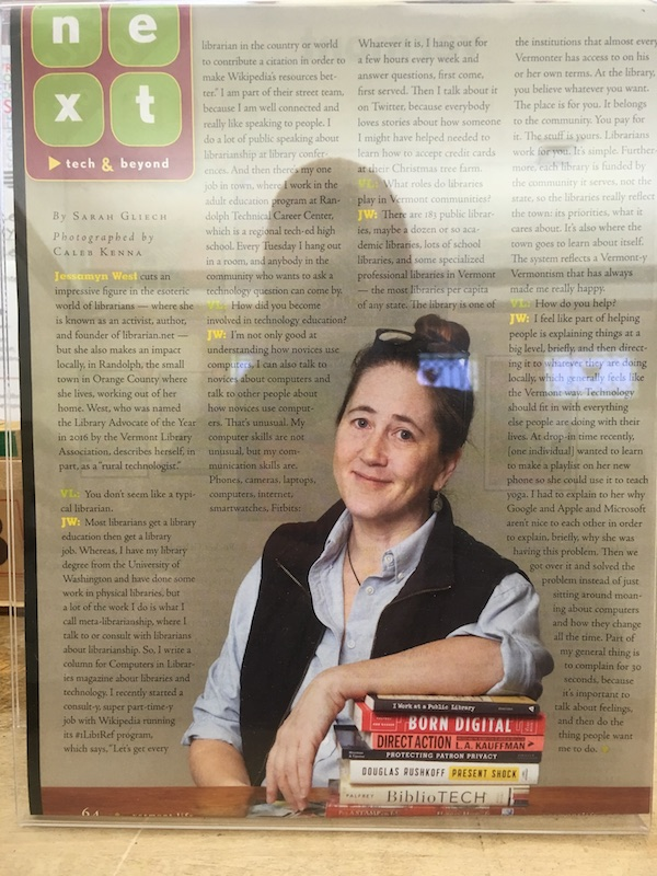 an image of me in my librarian outfit looking decently good alongside an interview for which there is no online version.
