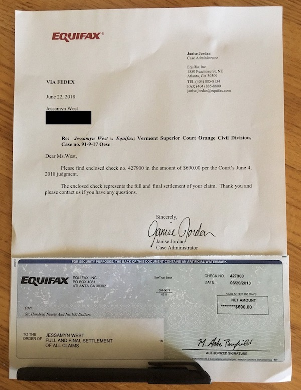 image of letter and check I received from Equifax