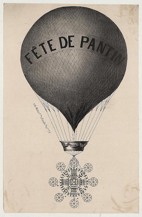 an old lithograph with a very old balloon hefting something into the sky that the caption tells me is a fireworks display mechanism